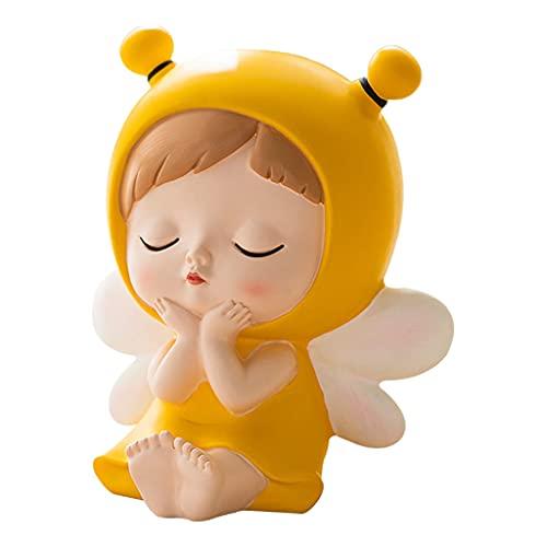 Baoblaze Hucha de niña de Abeja, Estatua de Escultura de Resina para niños, Banco de Dinero, Tarro de Almacenamiento para niños y niñas - Sentado 6x4,5x7cm
