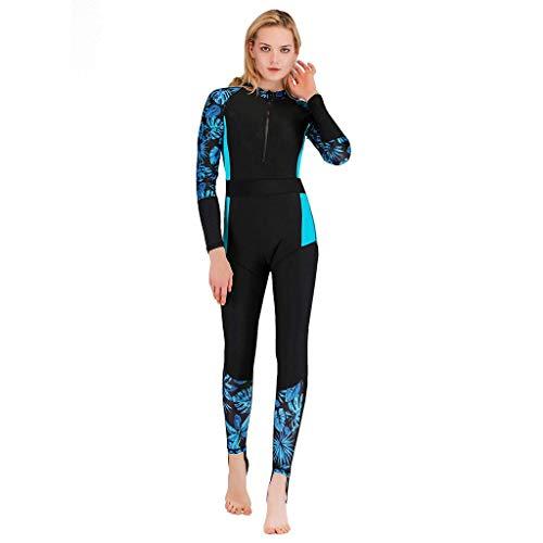 Frauen Ganzkörper Langarm Reißverschluss Vorderseite Surfen Einteiliger Badeanzug Tauchen Badebekleidung Rash Guards Athletic UPF 50+