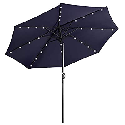 Aok Garden 9 ft Patio Umbrella with Solar Lights Outdoor 32 LED Table Umbrella 8 Ribs with Push Button Tilt and Crank for Market, Deck, Backyard and Pool (Navy Blue)