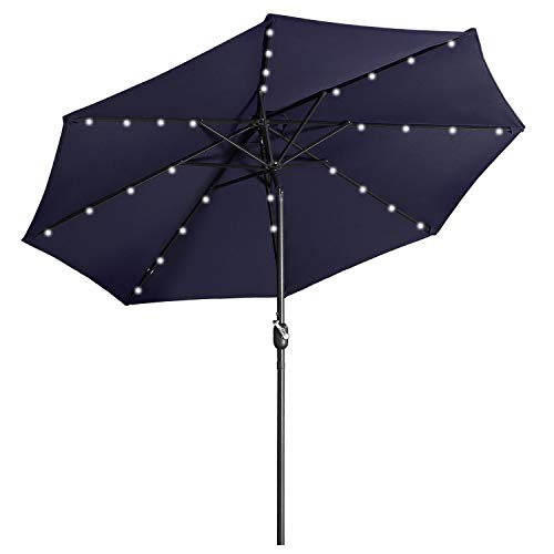 Aok Garden LED Outdoor Umbrella,9 ft Patio Umbrella LED Solar Power with Push Button Tilt and Crank Lift Ventilation,8 Sturdy Ribs Non-Fading Sunshade,Navy Blue