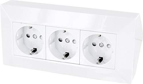 3-fach Aufbau Steckdosenleiste Ecksteckdose - 230V 16A 3600W (weiß)