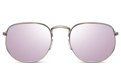 Cheapass Gafas de Sol Hexagonales Gafas de sol Doradas Montura Moradas Lentes Espejadas Hombres Mujeres UV400 protegidas