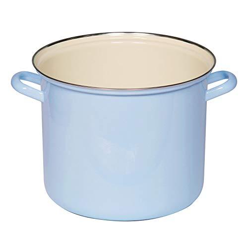 Riess - Topf mit Chromrand - Kochtopf - Emaille - blau Ø 24cm - 8 Liter