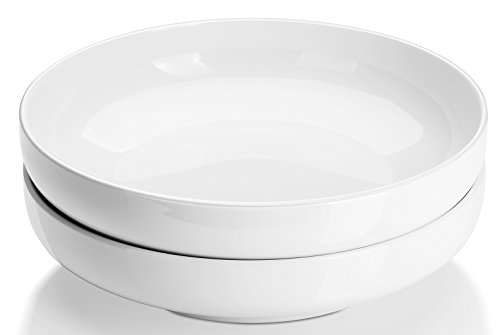 DOWAN Porcelain Serving Plate Bowls - White Serving Bowls and Platters for Salad, Pasta, Soup and Fruit, Large Serving Dishes for Dinner, Anti Slip and Stackable, Set of 2, 2 Quarts