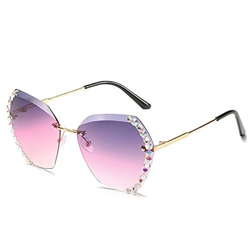 QKFON Gafas de sol hexagonales de diamante de moda para mujer, gradiente Bling Rhinestone gafas de sol para conducir viaje compras regalo para esposa amante madre