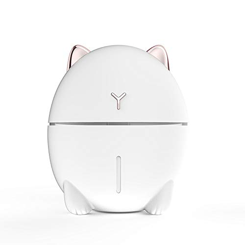 Tobnone Cat Humidifiers with Night Led, Mini Cool Mist Humidifier 200ml USB Portable Air Diffuser, Auto Shut-Off, Best Gift for Christmas, for Bedroom, Baby, Travel, Desktop, Home, Office,Car (White)
