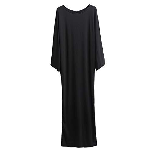 MERICAL Moda para Mujer Musulmana Retro Manga Larga Elegante Casual Soild Largo Elegante y Noble Vestido Encantador(Negro,XX-Large)