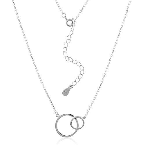 VITAL ARGENT Collar Karma de Plata, Círculos Entrelazados de Plata, Gargantilla Minimalista, Colgante Doble Karma Plata de Ley 925