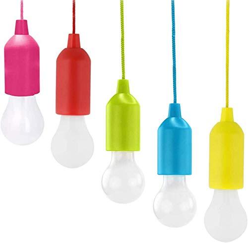 Bombilla LED con cordón de tracción, para interior y exterior, funciona con pilas, lámpara colgante portátil para camping, jardines, barbacoas, festivales, fiestas, decoración, (5 unidades)
