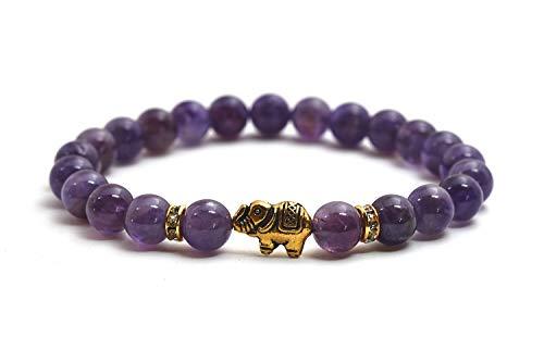 Elefanten Amethyst Armband mit Naturstein Perlen und Kristall Highlights – BERGERLIN Feel Goods