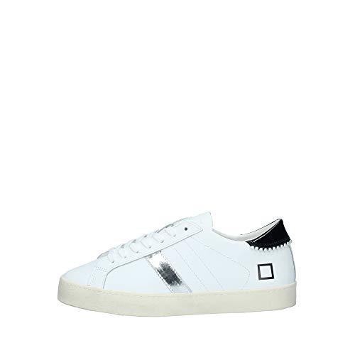 D.A.T.E. Sneaker Donna in Pelle Bianca con Dettagli Nero E Argento (Numeric_39)