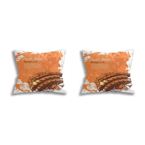 Throw Pillow Covers decoración de la habitación (Juego de 2 Piezas), Vintage Fast Food Background Hand Drawn Illustration Menu Design,Juego de Funda de cojín para Fundas de Almohada de Dormitorio de