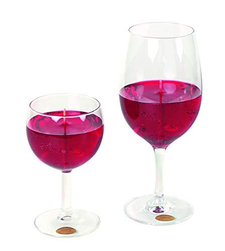 Rotweinglas Kerze 0,2 Liter. Kerze im Ballonglas in schöner Rotwein Farbe und gut riechend. Glas nach Reinigung benutzbar. Sieht täuschend echt aus.