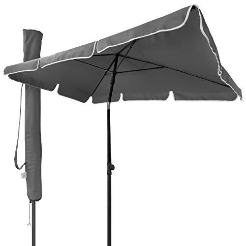 VOUNOT Sonnenschirm Rechteckig für Balkon und Terrasse, 200 × 125 cm, Knickbarer Balkonschirm, Sonnenschutz UV 50+, Grau