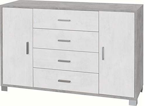 Mueble aparador de 4 cajones y 2 puertas de 86 x 136 x 41 cm. Estructura de color hormigón frontales blanco óxido 775 K.