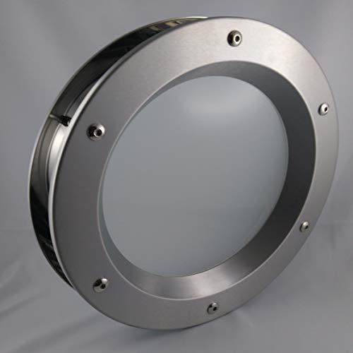 Hublot de porte en acier inoxydable poli, diamètre 350mm, verre transparent de sécurité, écrous douilles