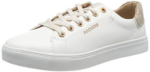 Dockers by Gerli Damen 44MA201-610592 Sneaker, Weiß (Weiss/Rosegold 592), 41 EU