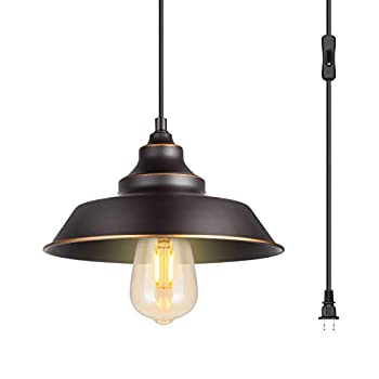 Indoor Pendant Lamp Retro Black Finish with manually Golden Highlights,1-Light Ceiling Pendant Light,Hanging Light Fixture,Plug in Cord with On/Off Switch