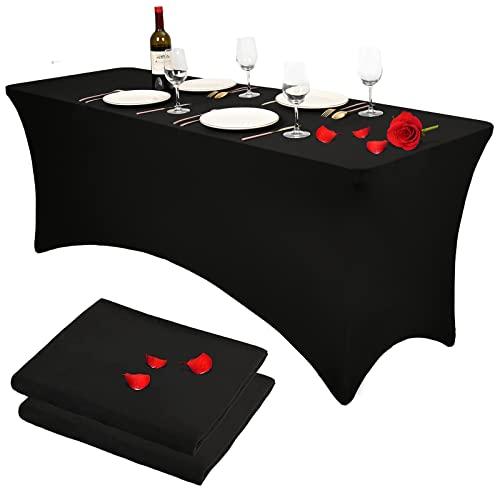 2 Packs Polyester Fit Nappes Rectangulaires 6ft Extensible Élastique Spandex Table Couverture Noir Patio Mariage Fête Bar Artisanat Exposition Table Couverture