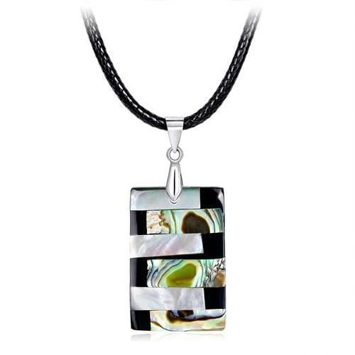 XIGAWAY Concha Collar Abalone Natural Colgante Forma Geométrica Colorido Brillante Único Moda Mujer Joyería Charms Hallazgos