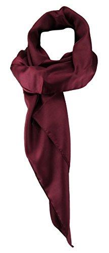 TigerTie Damen Chiffon Halstuch bordeaux weinrot Uni mit Bordüre Gr. 80 cm x 80 cm - Schal