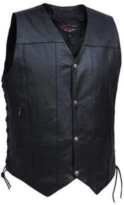 UNIK International Men's 10-Pocket Vest Cow Hide Skin,BLK,2XL