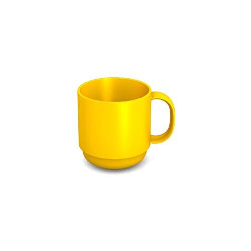 Ornamin Becher 220 ml gelb (Modell 508) / Mehrweg-Becher Kunststoff, Kaffeebecher, Henkelbecher