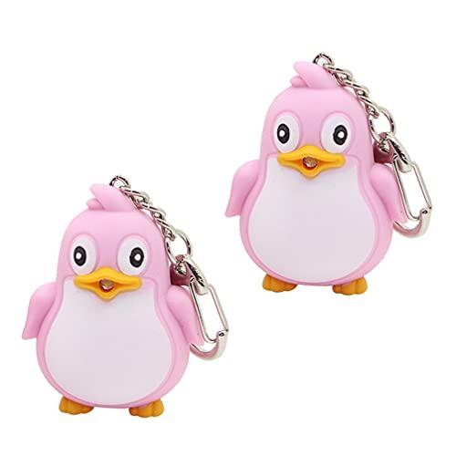 WINOMO 2Pcs Pinguino Portachiavi Animale Suono LED Portachiavi Torcia della Torcia Elettrica Portachiavi Rosa Animale Marino di Fascino di Chiave con Il Suono Chiave Uccello Pendente per