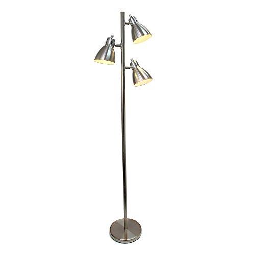 Simple Designs Home LF2007-BSN Simple Designs, Brushed Nickel Metal 3-Light Tree Floor Lamp, Finish