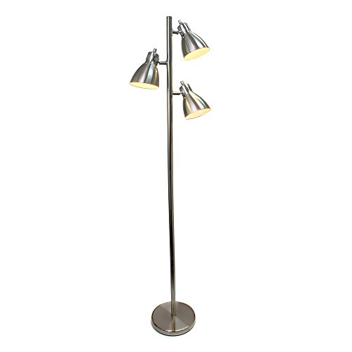 Simple Designs Home LF2007-BSN Simple Designs, Brushed Nickel Metal 3-Light Tree Floor Lamp, Finish