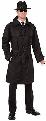 Forum Novelties Men's Secret Agent Spy Trench Coat, Black, One Size