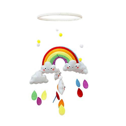 Asdomo Mobile für Babybett, Regenbogen-Wolken-Windspiel für Babybett, Dekoration zum Aufhängen, drehbar, für Jungen oder Mädchen
