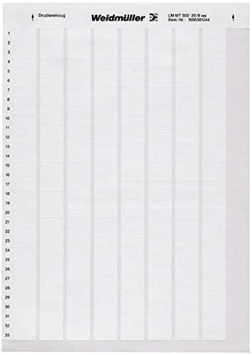 Weidmüller 1695721044weiß Drucker Etikett mit Haftklebestreifen Etikett zu drucken–Etiketten zu drucken (weiß, Drucker-Etikett selbstklebend, Polyester, Laser,-40–1550°C, 5,5cm)