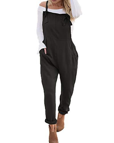 VONDA Latzhose Damen Jumpsuit Retro Lange Overall Größe Baggy Sommerhose A-Schwarz S