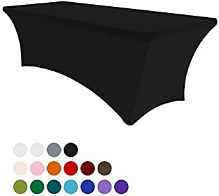 Eurmax 4Ft Rectangular Fitted Spandex Tablecloths Wedding Party Table Covers Event Stretchable Tablecloth (Black)
