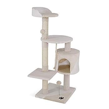 lionto by dibea Arbre à chat arbre à grimper griffoir pour chat hauteur 112 cm beige/blanc