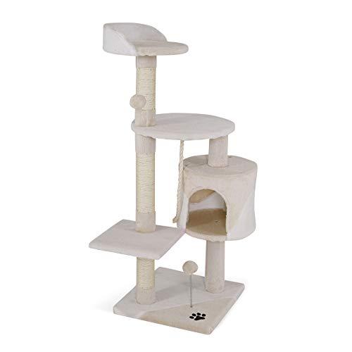 dibea Tiragraffi per gatto albero tiragraffi gatto gioco giocattolo gatti Altezza 112 cm beige/bianco