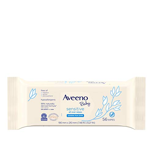 Aveeno Baby Sensitive All Over Wipes with Aloe & Natural Oat Extract for Face, Bottom & Hands, pH-Balanced, Hypoallergenic, Fragrance-, Phthalate-, Alcohol- & Paraben-Free, 3 Pks of 56 ct