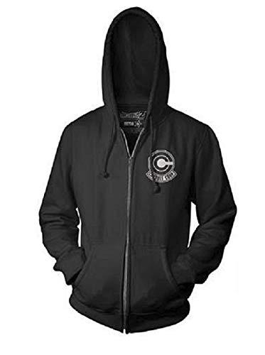 Dragon Ball Z Capsule Corp Logo Adult Zip Hooded Sweatshirt (Small) Black