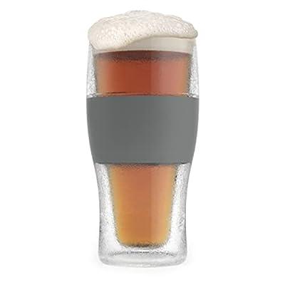 Host Freeze Beer Glasses, 16 ounce Freezer Gel Chiller Double Wall Plastic Frozen Pint Glass