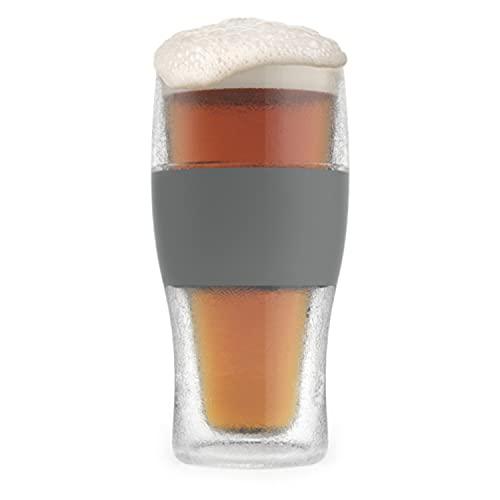 Host Freeze Beer Glass, Freezer Gel Chiller Double Wall Plastic Frozen Pint Glass, Set of One, 16 oz, Grey