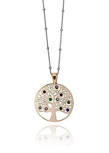 Baum des Lebens Halskette aus 925er Silber Geschenkidee Angebot (Kupferrot Kreis Steine)