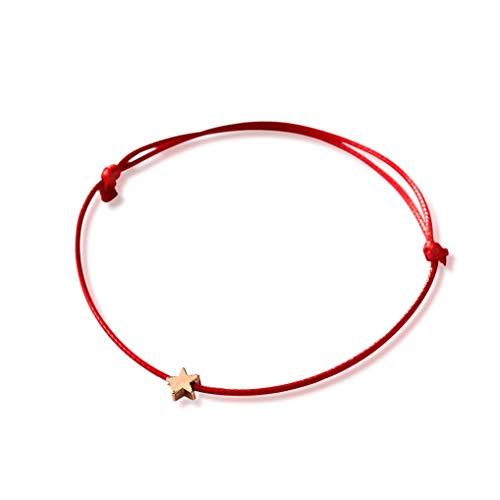 Cngstar Silver Golden Star Red String Bracelet for Women Men Adjustable Rope Braided Bracelet Mom Daughter Couple Gift (Red)