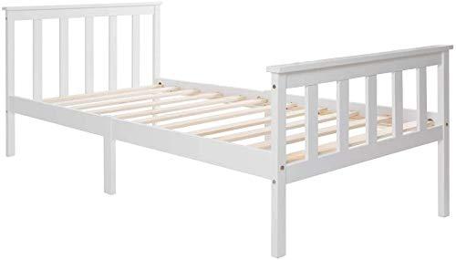 Famgizmo 2020 Modell 90 x 200 cm Einzelbett | Holzbett aus Bettgestell | Lattenrost | Kopfteil | Futonbett | Kinderbett | Massivholz Jugendbett Kiefer Massiv Bett | lackiert Gästebett Bett