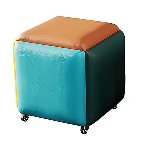 Taburete de mesa otomano convertible 5 en 1, apilable, reposapiés de cuero transpirable, accesorio para el hogar creativo cubo sofá, varios colores (tamaño: grande)