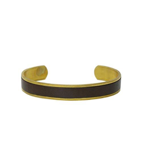 名入れ 真鍮 ヌメ革 バングル ブレスレット 刻印付き 指輪 メンズ レディース レザー ペアバングル brass プレゼント ギフト (チョコ, M)