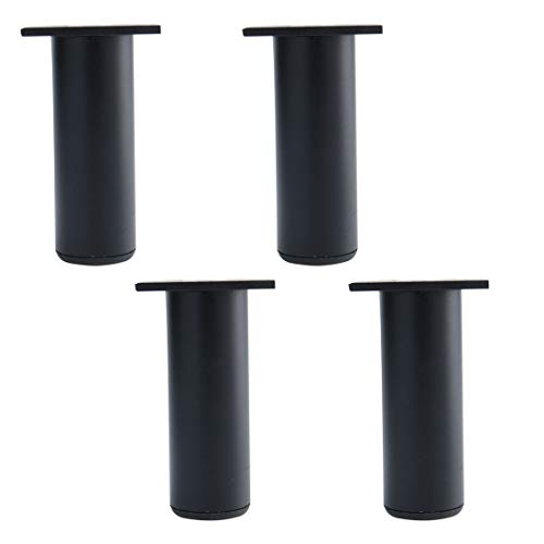 uxcell 5 Inch Round Furniture Legs Aluminium Alloy Sofa Couch Table Cabinet Wardrobe Worktop Shelves Feet Replacement Height Adjuster Black Set of 4