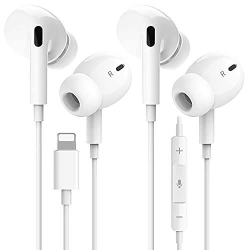 2 Pack Auriculares para iPhone 12, Auriculares emparejados con Aislamiento de Ruido Soporte Control de Volumen de Llamadas Compatible con iPhone 7/11/XS/XR/X/7 Plus/8/iPad Soporta Todo el Sistema iOS