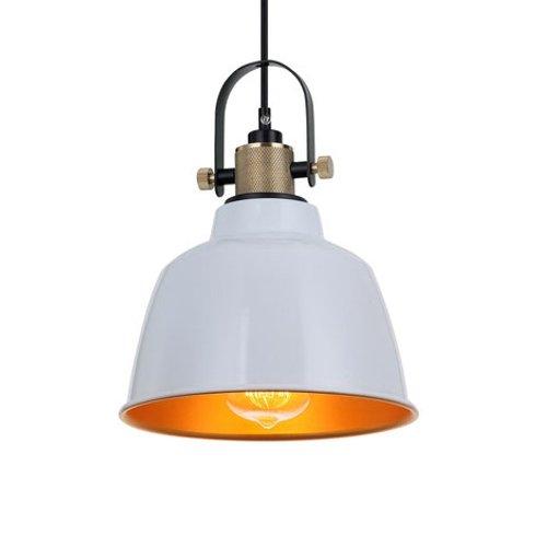 Plafondlamp van messing met witte afwerking met gouden binnenkant, voor E27-lampen