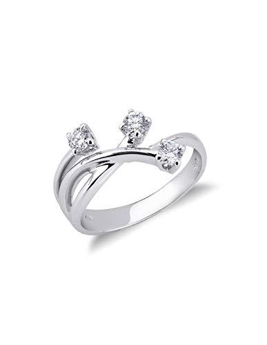 Gioielli di Valenza - Anello Trilogy in Oro bianco 18k con Diamanti ct. 0,35 - TRR1414-35BB - 8